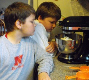 B and Jay mixing the dough