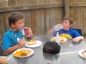 Boys with big plates
