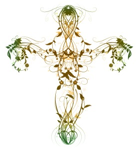 Green Floral Cross on white